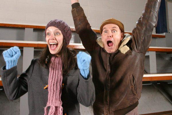 Cailin Stadnyk and Jackson Davies in 'Hockey Mom, Hockey Dad' at The Arts Club.