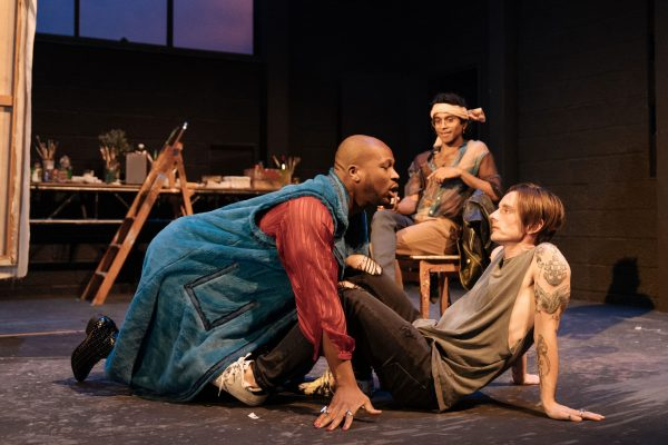 STEFAN ADEGBOLA, HIRAN ABEYSEKERA & DICKIE BEAU. PHOTO: HAMPSTEAD THEATRE (UK)