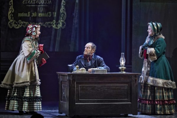 Anna Cummer, Stephen Hair, Karen Johnson-Diamond in Theatre Calgary's A Christmas Carol. Photo by Trudie Lee