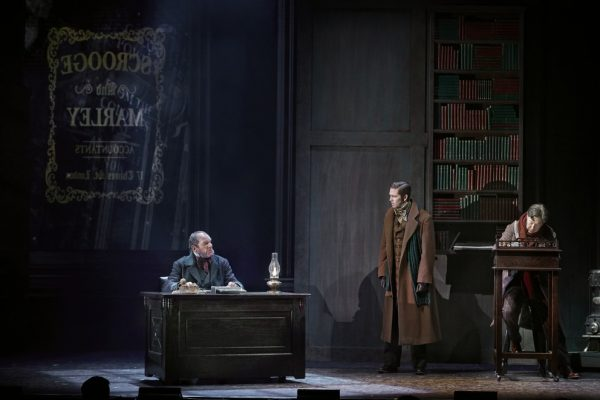 Stephen Hair, Brett Dahl & Graham Percy in Theatre Calgary's A Christmas Carol (2019-20). Photo by Trudie Lee.