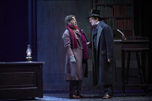 Graham Percy & Stephen Hair in Theatre Calgary's A Christmas Carol (2019-20). Photo by Trudie Lee.