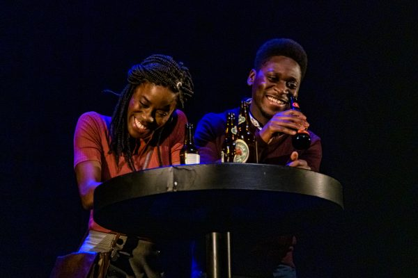 Tia (Allison Edwards-Crewe) and Steve (Tony Ofori) grab a few drinks. Photo: Barbara Zimonick