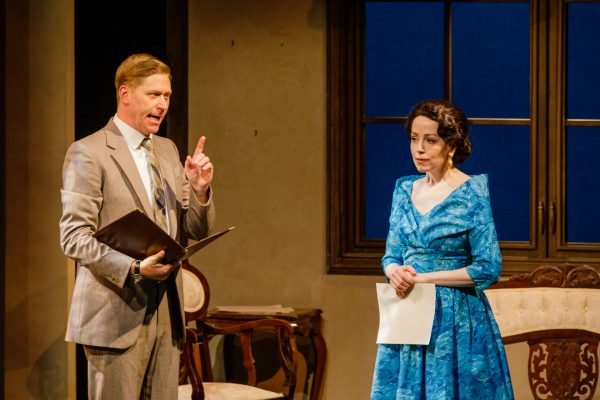 Talbot (Geoffrey Pounsett) briefs Princess Elizabeth (Amanda Lisman). Photo: Barbara Zimonick