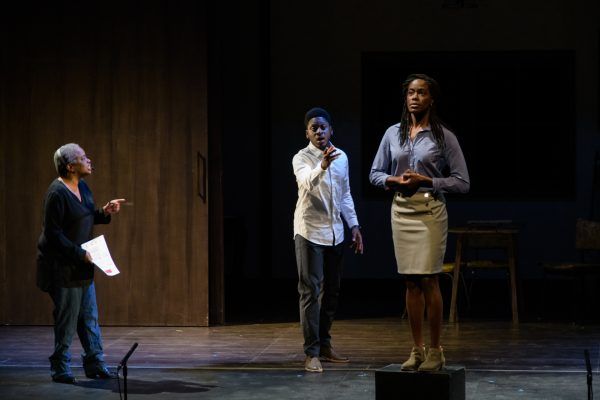 Patricia (Marcia Johnson) directs Steve (Tony Ofori) in an audition with Tia (Allison Edwards-Crewe). Photo: Barbara Zimonick
