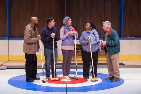 Richard Young, Richard Lam, Parmida Vand, Jenni Burke, and Guy Bannerman. Photo: Randy deKleine-Stimpson. The New Canadian Curling Club - Thousand Islands Playhouse 2019