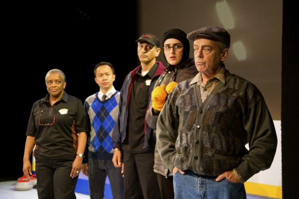 Marcia Johnson, Matthew Gin, Omar Alex Khan, Parmida Vand, and Lorne Kennedy in the Blyth Festival Production of The New Canadian Curling Club Photo: Terry Manzo