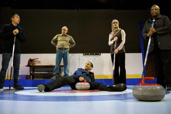 Matthew Gin, Lorne Kennedy, Omar Alex Khan, Parmida Vand and Marcia Johnson in the Blyth Festival Production of The New Canadian Curling Club Photo: Terry Manzo