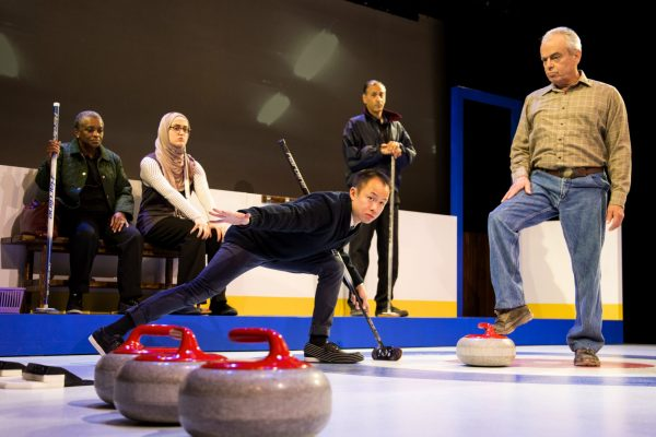 Marcia Johnson, Parmida Vand, Matthew Gin, Omar Alex Khan and Lorne Kennedy in the Blyth Festival Production of The New Canadian Curling Club Photo: Terry Manzo