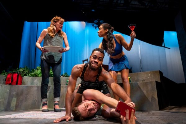Shadow Theatre's production of Happy Birthday Baby J. Clockwise from back left - Chantal Perron, Patricia Cerra, Mathew Hulshof and Cameron Grant. MARC J CHALIFOUX PHOTOGRAPHY/Photo