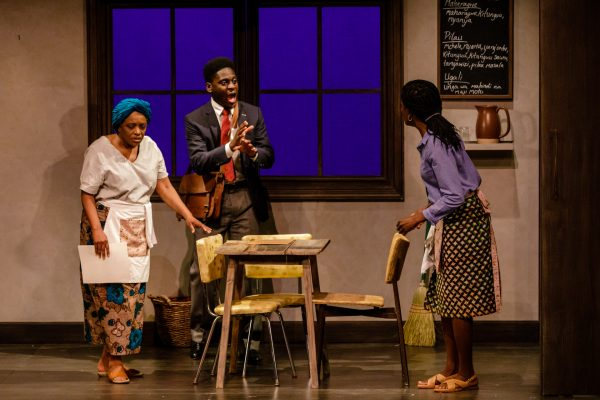 Montague (Tony Ofori) delivers bad news to Mercy (Marcia Johnson) and Faith (Allison Edwards-Crewe). Photo: Barbara Zimonick