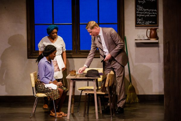 Talbot (Geoffrey Pounsett) gives a generous tip to Faith (Allison Edwards-Crewe) and Mercy (Marcia Johnson). Photo: Barbara Zimonick